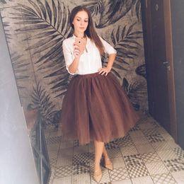 $enCountryForm.capitalKeyWord Australia - Waist High 7 Layer Midi Tulle Skirt Tutu Skirts Womens Petticoat Elastic Belt Summer Faldas Saia Jupe