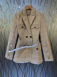 $enCountryForm.capitalKeyWord Australia - 2019 Early autumn new women's suit collar, double-row buckle belt, waist Plaid suit short jacket 727