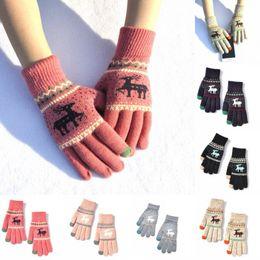 $enCountryForm.capitalKeyWord Australia - Christmas Gift 6 Styles Full Finger Women Winter Warm Gloves Elk Deer Knitted Gloves Touch Screen Mittens Unisex Fashion Accessories H918Q F