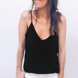 Open Back Tee Australia - Fashion Women Casual Summer Lace Top Sleeveless V Neck Tank Loose Vest Open Back Tee Ladies Backless Daily Basic debardeur femme