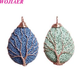 rose gold plated wire wholesale Canada - WOJIAER Men Women Jewelry Rose Gold Color Wire Wrap Natural Lava Stone Volcanic Rock Pendant Water Drop Tree of Life DBV913