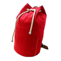 Large drawstring backpack online shopping - Large Capacity Fitness Sports Bag Vintage Canvas Drawstring Backpack Rucksack Men Woman Travel Daypack Gym Bag HA86