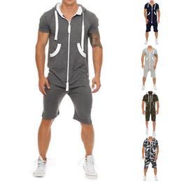 Wholesale Mens Zipper Hoodies Australia - HEFLASHOR 2019 Casual Tracksuit Jumpsuit Mens Short Sleeve Sweatshirt Hoodies Romper Mens Overalls Sportswear Dropshipping