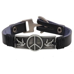 fashion personalized leather bracelet Canada - iMaySon Fashion Punk Leather Peace Sign Bracelet for Men Retro Cuff Wrap Rope Wristband Personalized Birthday Jewelry Gifts