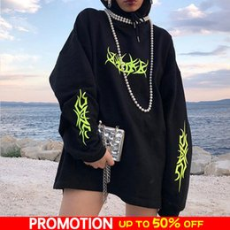 Wholesale neon long sleeve pullover for sale – designer Gothic Hooded Hoody Women Black Neon Print Women s Hoodies Loose Pullover Autumn Streetwear Oversize Hoodie Female Top Y190916