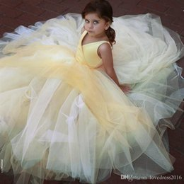 4a9a7fcbc47a Simple Little V Neck Flower Girl's Dresses for Weddings 2019 Long Floor  Tulle A Line Princess Party Birthday Gowns