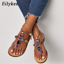 sandal high flats shoes Canada - Eilyken High quality Gladiator Rhinestone Flats Women Sandals Shoes Bohemia Crystal Beach Shoes Rubber sole Fow Summer WomenMX190824