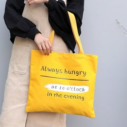 Discount harajuku cell phone - New Summer Yellow Women Harajuku Letter Print Canvas Vintage Casual Shoulder Bags Girls Beach Bag Practical Foldable Reu