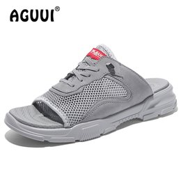 mesh lace up beach shoe NZ - Mens Breathable Mesh Slippers Male Lace-up Casual Slides Outdoor Peep Toe Beach Shoes Chanclas Hombre Size 38-44