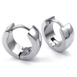 $enCountryForm.capitalKeyWord Australia - Jewelery Earrings - Minimalist Design Hinged Rings - Stainless Steel for Men and Women Silver With Gift Bag