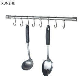 Pan hooks online shopping - XUNZHE PC Stainless Steel Single J Shape Casing Hanging Hooks Kitchen Pot Pan Hanger Rack Rail Clothes Storage Holder Organizer