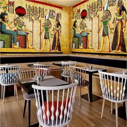 theme wallpaper NZ - Nostalgic Vintage Egyptian Pharaoh Idol Background Mural Wallpaper 3D Classic Theme Restaurant Cafe Industrial Decor Wall Paper