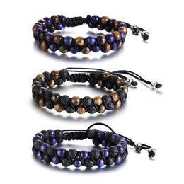 $enCountryForm.capitalKeyWord NZ - 12MM Black Fashion Simple Men's Nylon Rope Weaving Bangle Stainless Steel Stone Beads Bracelet Watchband Jewelry Gift for Men Boys J700