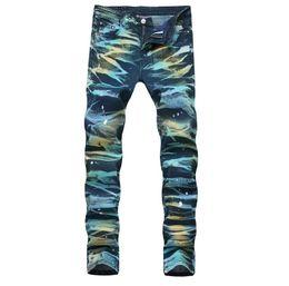 3824ba5e68a Mens 3D Painted Elastic Straight Leg Jeans Slim Fit Designer Aurora Blue  scratched Pencil Biker Bleached Denim Pants Streetwear QKN1911