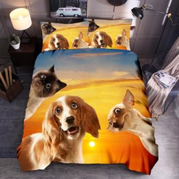 animal print queen quilt covers UK - 3d Animal Printed Bedding Set Dog Cat Printed Duvet Cover Sets Queen King Quilt Cover Bed Linen