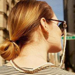 sunglasses chain straps Canada - Pearl Holder Lanyard Necklace Reading Glasses Chain Gold Color Beads Sunglasses Chain Eye Glasses Accessories Straps