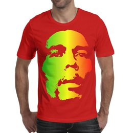 silver bobs 2019 - Bob Marley Face Rainbow color Printed Mens T-Shirts Popular Cotton Crewneck Short Sleeve Tees discount silver bobs