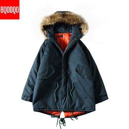 Wholesale men fur hooded trench coat resale online - Winter Long Parkas Jacket Fake Fur Hooded Men Windproof Streetwear Trench Coat Mens XL Black Print Thick Army Jackets
