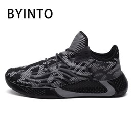 male tennis shoes NZ - 2020 Fashion Men Tennis Sport Shoes Super Light Breathable Mesh Sock Male Sneakers Luminous Man Jogging Trainers Tenis Masculino