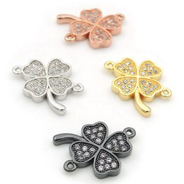 Leaf Connector Wholesale Australia - 16*14*2mm Micro Pave Clear CZ Four-leaf Clover Connectors Fit For Men And Women Making Bracelets Jewelry