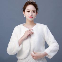 $enCountryForm.capitalKeyWord Australia - Long Sleeves New Cheap Free Shipping One Size Ivory Faux Fur Wrap With Shawl Wedding Bridal Jackets for Winter Wedding 2019