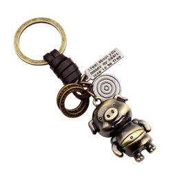 $enCountryForm.capitalKeyWord Australia - Vintage Leather Circle Cartoon Pig Keychain Keyring Charm Key Car Hanging Bag Pendent Hook Key Chain