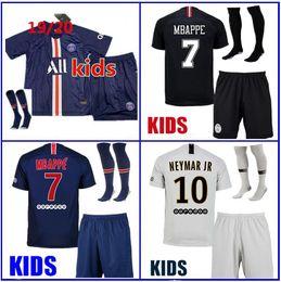 2019 2020 Paris kit kids camisas de futebol 19 20 mbappe longe de casa VERRATTI CAVANI DI MARIA MAILLOT DE FOOT criança sobrevivência psg kit de crianças em Promoção