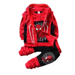 Boys toddler spring jackets online shopping - Free DHL INS Toddler Kids Boys Spiderman Tracksuits Sleeveless Hooded Coat Sweatershirts Pants pieces Suits Autumn Childdren Boys Clothing