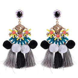 $enCountryForm.capitalKeyWord UK - Resin Hair Ball Tassel Stud Earring Bohemia Multi Layer Fashion Fringe Earrings Jewelry For Women National Style Hyperbole Dangler Gift 2019