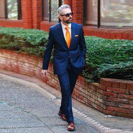 $enCountryForm.capitalKeyWord Australia - Handsome Navy Blue Men's Formal Tuxedos Notched Lapel 2 Pieces Father Suits Sets Latest Coat Pant Designs