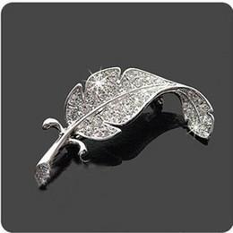 Rhinestone leaf bRooch online shopping - Brooches Leaf Silver Tone Rhinestone Crystal Wedding Gift Brooch Pin Christmas Brooch