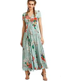 a5aa42037691 Green Boho Dress UK - Women Floral Print Button Up Split Flowy Boho Party  Long Maxi