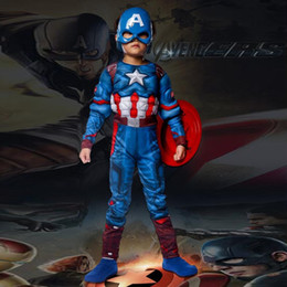 Wholesale aptain america costume superhero captain america costume Avengers Child Cosplay Super Hero Halloween Costumes For Kids Boys Girls christm
