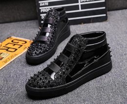 prom dress sequin fabric Australia - Men street Fashion Punk hip-hop Sequins rivets high tops Loafers Casual Shoes 2020 Male Dress Wedding Prom shoes zapatos n30