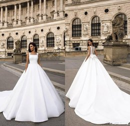 $enCountryForm.capitalKeyWord Australia - 2020 Elegant Satin Wedding Dresses Square Neck Lace Back Big Bow Cheap Beach Wedding Dress Custom Made Sweep Train Vestidos De Noiva
