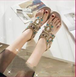 $enCountryForm.capitalKeyWord Australia - Fashion Summer Beach Flatforms Wedding Shoes Crystal Holiday Seaside Pinch Toe Bohemian Sandals Bridal Shoes Evening Party Prom Women Shoes