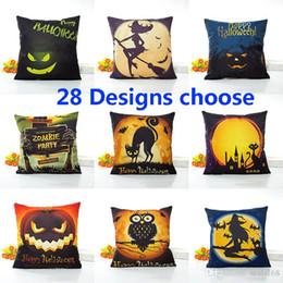 $enCountryForm.capitalKeyWord Australia - Halloween Pillow Case Pumpkin Bat Linen Cartoon Anime Pillowcase Home Sofa Car Decorative Xmas Gifts Without core 45*45cm 28 Design HH7-1512
