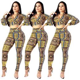 $enCountryForm.capitalKeyWord NZ - Woman Fashion Tracksuit Long Sleeve Zipper T Shirt Casual Ethnic Elements Crop Top + Pants Leggings 2 Piece Set Outfits Summer T-shirt Suit