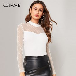 Wholesale COLROVIE Beige Stand Collar Sheer Mesh Dot Mesh Sweetheart Ribbed Knit Elegant T Shirt Women Shirts Long Sleeve Office Tee