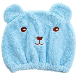 Bored Hair UK - Strong Absorbing Cartoon Wrap Towel Soft Hat Shower Cute Bear Quick-dry Dry Hair Cap