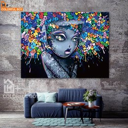 Canvas art for kids rooms online shopping - COLORFULBOY Modern Creative Abstract Girl Graffiti Canvas Painting For Kids Room Wall Art Posters And Prints Wall Pictures Decor