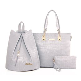 Good Ladies Handbags Australia - good quality 3pcs set Alligator Leather Women Handbag Composite Bag Female Casual Tote Ladies Famous Brandshoulder Bag Sac A Main 2019