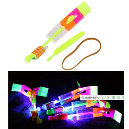 wholesale parachute toys Australia - LED Arrow Helicopter LED Amazing Arrow Flying Helicopter Umbrella parachute Kids Toys Space UFO LED Light Christmas Halloween Flash Toys