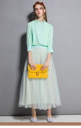 $enCountryForm.capitalKeyWord Australia - Women's Suit Set Doll Collar Shirt + Mesh Hollow Large Swing Long Skirt Two Piece Dress