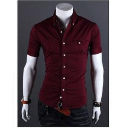 06eba3bbc Men Shirt Luxury Brand 2018 Male Short Sleeve Shirts Casual Metal Buckle  Hit Color Slim Fit Black Dress Shirts Mens Hawaiian 3XL #388627