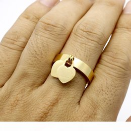 t letter ring UK - fashion jewelry 316L titanium gold-plated heart-shaped ring T letter letters double heart ring female ring for woman