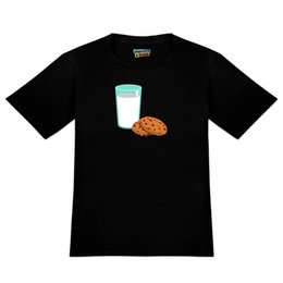 Novelty Glasses Black UK - Glass Of Milk and Cookies Men's Novelty T-Shirt Round Style Tees Custom Jersey t-shirt