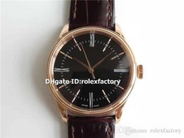 luxury brown leather watch Australia - MKF New Luxury 50505 Watch Swiss 3132 Automatic Sapphire Crystal 18K Rose Gold Black Dial Brown Leather Strap Mens Watch Water Resistance 50