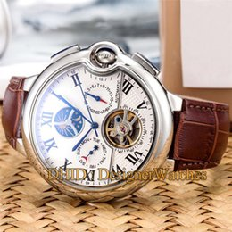 $enCountryForm.capitalKeyWord Australia - BLUE BALLON Luxury Mens Watches Mechanical Automatic Movement Watch Man Flywheel Day Date 46mm 316L Stainless Steel Case Leather Strap