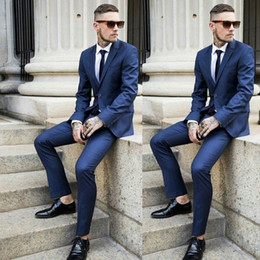 $enCountryForm.capitalKeyWord NZ - Navy Blue Men Suits for Wedding Man Business Suits Single Breasted Groom Tuxedos 2Piece (Coat+Pants) Slim Fit Costume Homme Terno Masculino